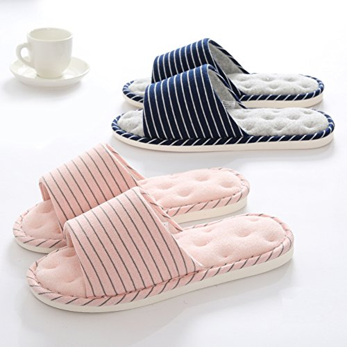 House Flax Casual Memory Indoor Cotton Men Slippers Foam Brown Asifn Home House Massage Cozy Women wxOUqn
