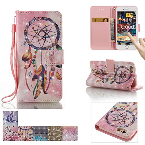 iPhone SE Case,iPhone 5/5S Case, Firefish [Card Slots] [Kickstand] Flip Folio Wallet [3D Painting] Case Shell Scratch Resistant Protective Cover for Apple iPhone 5/5S SE -Dreamcatcher