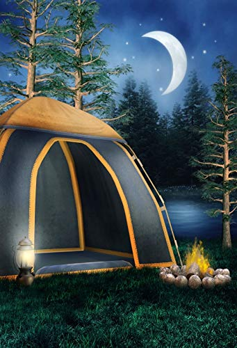 Baocicco 5x7ft Camping Trip Backdrop Night Scene Backdrop Tent Green Grass Lawn Bonfire Pine Trees Photography Background Camping Summer Holiday Family Outdoor Party Adventure Leisure]()