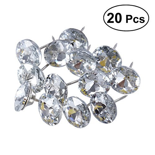 ROSENICE 25mm Sew Buttons Diamond Crystal Upholstery Nails Tacks Sofa Wall Decor 20Pcs (Fabric Upholstery White)