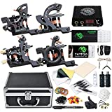 Dragonhawk Complete Tattoo Kit 4 Craft Machines Gun Tattoo Power Supply Needles Foot Pedal Grips with Case (Coils Craft Machines Kit)
