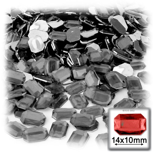 The Crafts Outlet 144-Piece Acrylic Aluminum Foil Flat Back Octagon Rectangle Rhinestones, 10 by 14mm, Charcoal Gray (Gray Rhinestone)