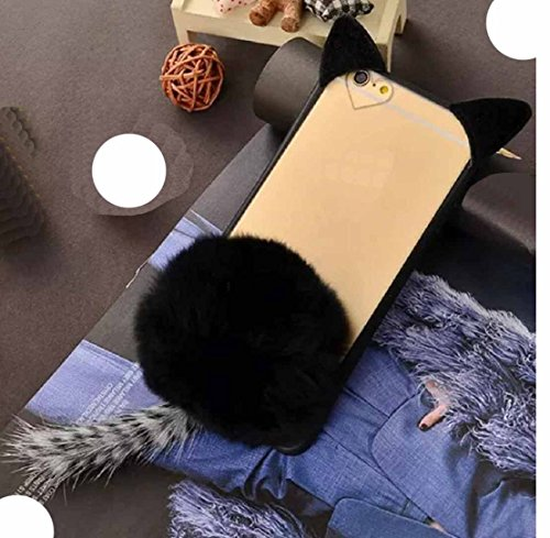 Huawei P8Lite Case, Very Light Slim Fluffy Cat Ear Tail + Warm Villi Cute Hair Ball Clear Back Cover, WEIFA 2018 Newest Super Charming Luxury CellPhone Case For Huawei P8 Lite Black