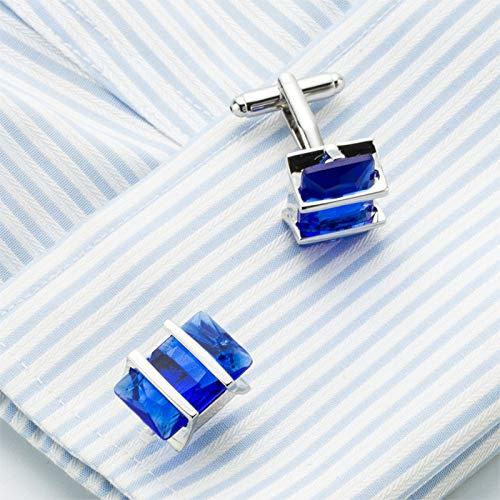 Da.Wa Elegant Blue Crystal Square Cuff Links Men's Business Wedding Shirt Cufflinks Accessories by Da.Wa (Image #4)