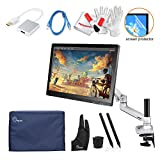 Ugee UG-2150 21.5 Inch IPS Screen Pen Display Tablet Monitor with LCD Arm, 2 Pen 2 USB Cable, Monitor Cover, Screen Protector and USB to HDMI Adapter
