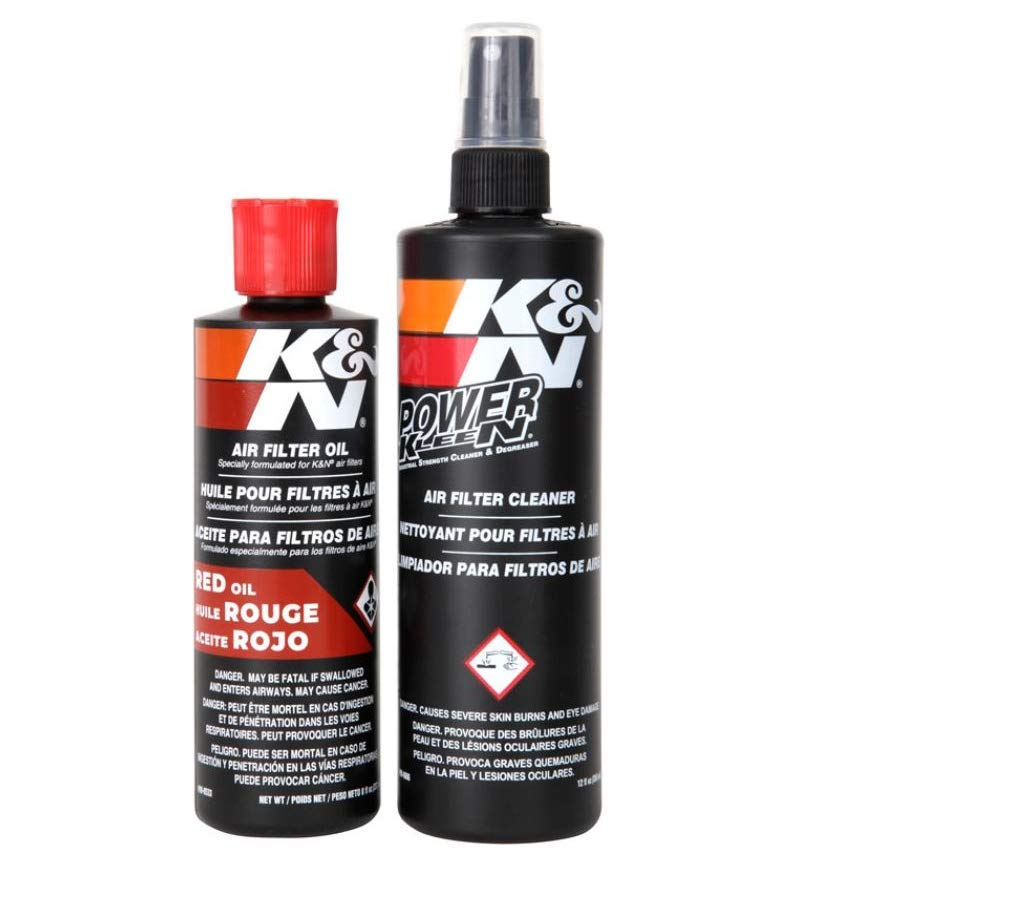 K&N Air Filter Cleaning Kit: Squeeze Bottle Filter Cleaner and Red Oil Kit; Restores Engine Air Filter Performance; Service Kit-99-5050