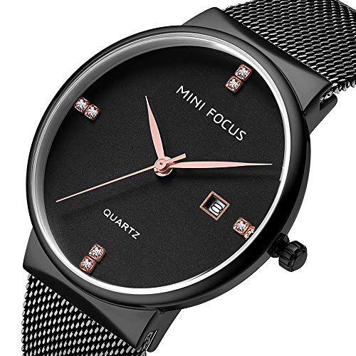 Mini Focus Men's Quartz Watch with Date Stainless Steel Mesh Band Business Wrist Watches (Black)