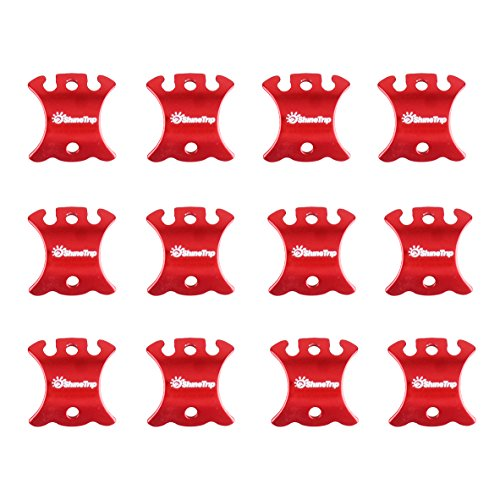 (TRIWONDER Aluminum Alloy Guyline Cord Adjuster Tent Tensioners Rope Adjuster for Tent Hiking Camping (Red (Turtle Shape) - 12 Pack))