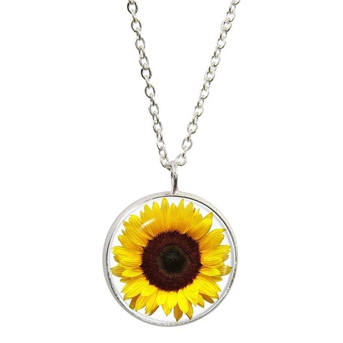 Sonnenblume Design Anhänger und Silber plattiert Halskette Set ...