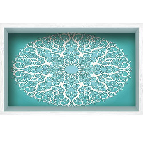 sion White Wood Frame Style Home Decor Art, Vinyl Wall/Floor Decal Sticker,Tree Branches Pattern Infinite Life Circle,35.4