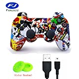 FanJazz Premium Controller Wireless Bluetooth for PS3,Double Shock Gamepad Sixaxis Remote Joystick for Playstation 3 Graffiti
