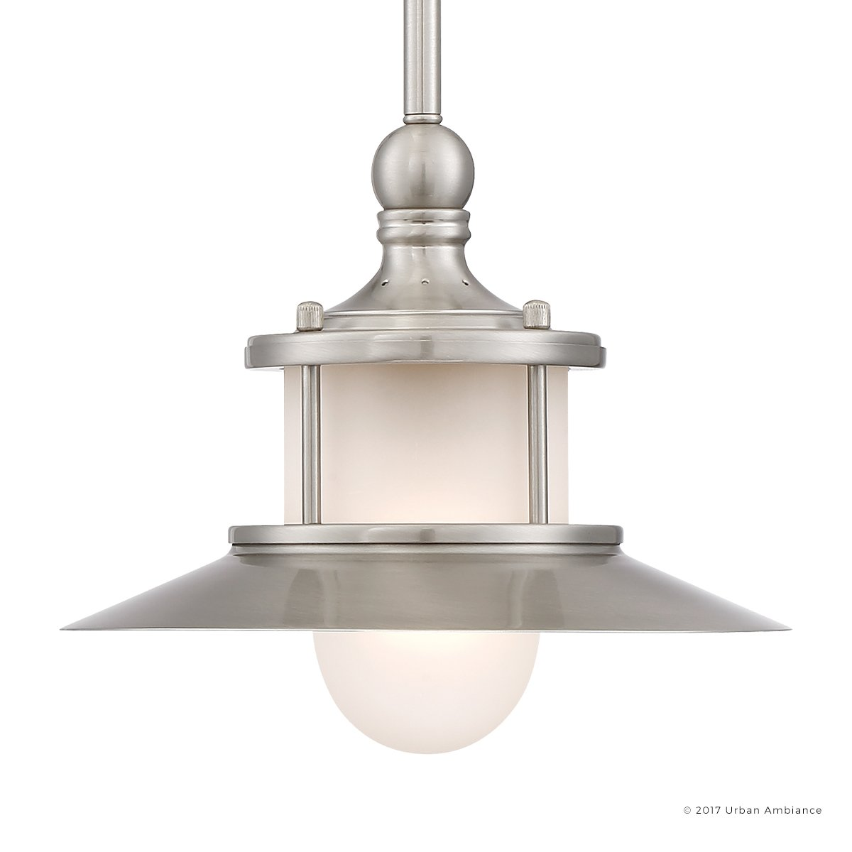 Luxury Nautical Indoor Hanging Pendant Light, Small Size: 8''H x 9.5''W, with Coastal Style Elements, Hooded Design, Pretty Brushed Nickel Finish and Acid Etched Glass, UQL2531 by Urban Ambiance