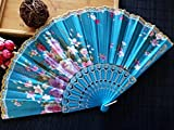 Skyblue 1Pcs Plastic Rib Hand Fan Good Gift For Wedding Flower Dance Fan With Lace
