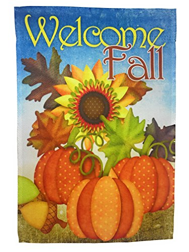 Lantern Hill Fall Garden Flag; Primitive Pumpkins, Sunflower, and Acorn; True Double Sided Welcome Fall Message readable Both Sides; 12 inches by 18 inches ()