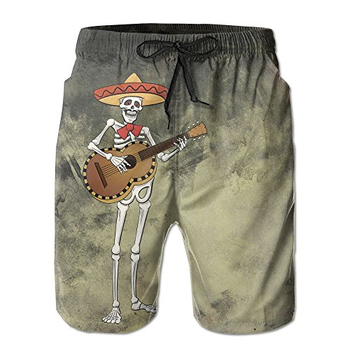 hot Funny Rock Skull Man Is Playing The Guitar Swim Trunks Quick Dry Beach Board Shorts Men Pants Household Shorts on sale