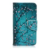 Moto G 3rd Gen Case, Easytop Book Style Flip Folio Wallet Case PU Leather Foldable Stand Feather Cover Case with Built-in Card Slots Cash Pocket Magnetic Tab for Motorola Moto G3 (Plum Blossom)