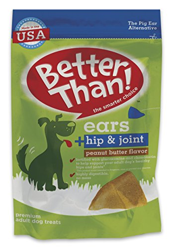 Better Than Ears Premium Dog Treats, Hip & Joint Peanut Butter Flavor, 36 Count Pouch