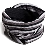 ski cowl - HDE Unisex Reversible Beanie Slouchy Baggy Knit Striped / Solid Ski Neck Warmer