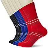 Kold Feet Men's Athletic 6-Pack Stripe Cushion Crew Hiking Performance Running Socks Large Black/Royal/Red