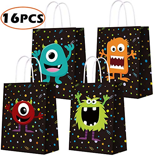 BCHOCKS Monster Themed Party Favor Bags for Monster Party Supplies, Kraft Paper Bags for Birthday Party Decorations, Favor Goody Gift Candy Bags for Kids Adults Birthday Party Decor-16 PCS