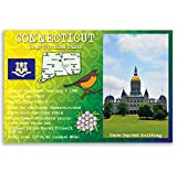 CONNECTICUT STATE FACTS postcard set of 20 identical postcards. Post cards with CT facts and state symbols. Made in USA.