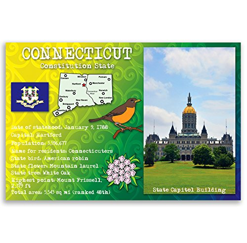 CONNECTICUT STATE FACTS postcard set of 20 identical postcards. Post cards with CT facts and state symbols. Made in - Connecticut Post