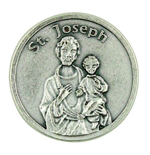 Eartly Father of Jesus Christ Patron Saint St Joseph Pocket Token with Prayer Catholic Coins