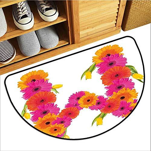 - Custom&blanket Scraper Entrance Mat, Letter M Doormats for Living Room, Pink and Orange Gerbera Flowers and Tulips in Full Blossom Fresh Spring (Hot Pink Orange Green, H20 x D32 Semicircle)