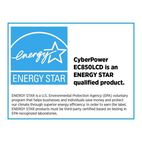 CyberPower EC850LCD Ecologic UPS System 850VA 510W 12 Outlets ECO Mode more stream-lined Uninterrupted power Supplies