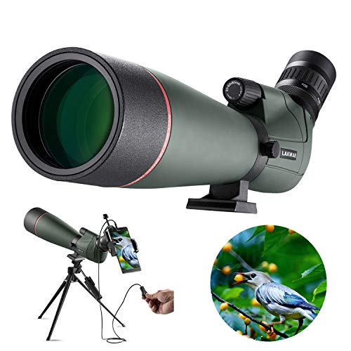 LAKWAR Spotting Scopes for Birdwatching, 20-60x80mm HD FMC Coated, with Phone Adapter + Shutter Wire Control + Tripod, Suitable for Bird Watching, Target Shooting and Camping