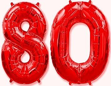 OFERTA ANTES 11,90€) Globo número 80 rojo para fiestas de ...