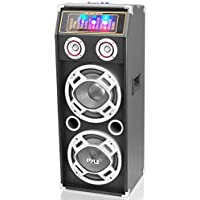 Pyle PSUFM1035A Bluetooth 1000 Watt 2-Way Speaker System with SD Card Reader, FM Radio, 3.5mm AUX Input and Flashing DJ Lights