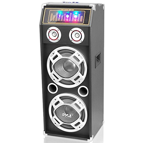 Pyle PSUFM1035A Bluetooth 1000 Watt 2-Way Speaker System with SD Card Reader, FM Radio, 3.5mm AUX Input and Flashing DJ Lights by Pyle