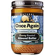 Once Again Natural Creamy Roasted Almond Butter, Unsweetened and Salt-Free 16 Ounce