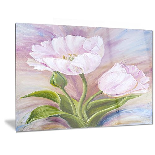 Designart White Tulips - Floral Metal Wall Art