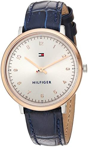 Tommy Hilfiger Women s SPORT Quartz Gold and Leather Casual Watch, Color Blue Model 1781764