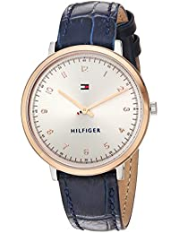 Women's 'SPORT' Quartz Gold and Leather Casual Watch, Color: Blue (Model: 1781764)