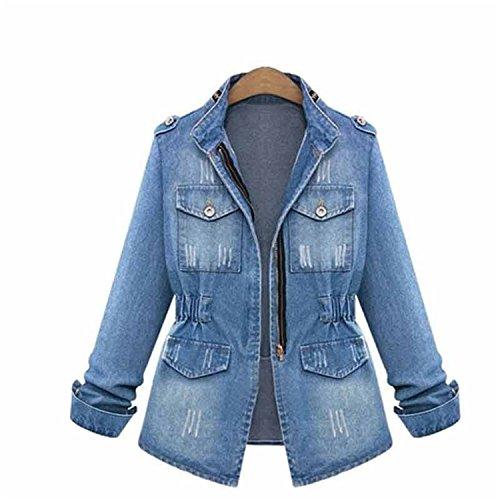 Finlindan Coat Autumn Women Vintage Pocket Zippers Stand Collar Blue Color Slim...