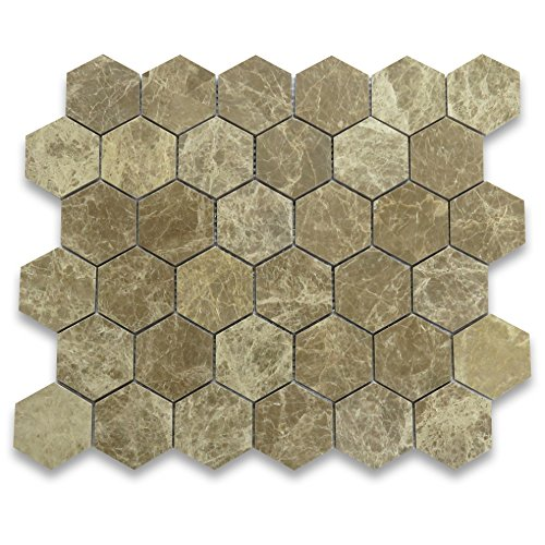 Emperador Light Marble Hexagon Mosaic Tile 2 inch Polished