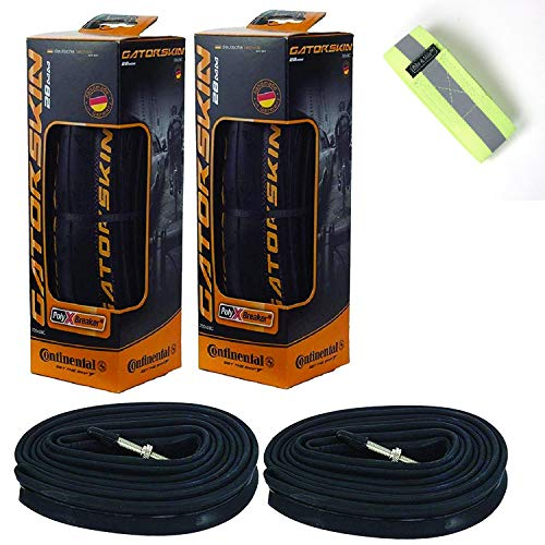 Continental GatorSkin Bike Tire Set of 2 Foldable Bicycle Tires - with Bike Tube Inner Tube Set of 2 Presta Bicycle Tubes (Tire Size 700 x 23mm, Tube Size 42mm)