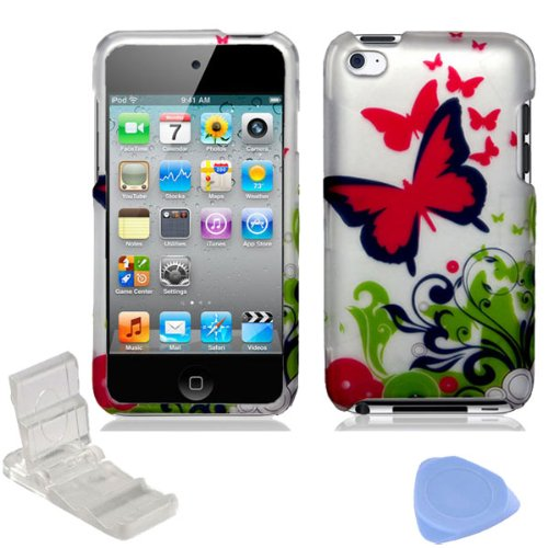Silver Green Hot Pink Butterfly Flower Vine Design Rubberized Snap on Hard Shell Cover Protector Faceplate Case for Apple iPod Touch 4 4G 4th Generation + LCD Screen Guard Film + Mini Adjustable Phone Holder Stand + Prying Tool