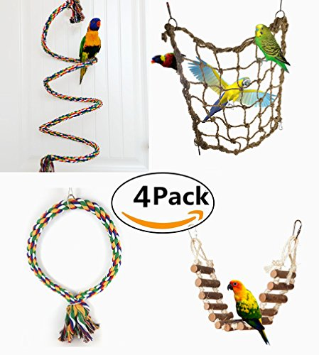 Be Good 4PCS Parrot Toys Set Bungee Climbing Ropes Perch Ladder Swing and Hammock Hanging Cage Chew Toys for Small Parakeets Cockatiels Conures Macaws Parrots Love Birds Finches by Be Good