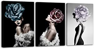 Ladies With The Flowers on Their Heads Canvas Art - Fashion Poster Picture Printed Artwork for Teenage Girls and Women's Bedroom Wall Decor with Frame Stretchable to Hang - 16