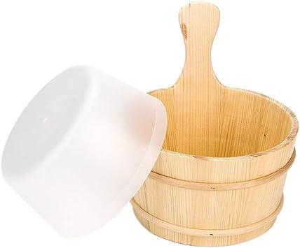 4L Holz Sauna Eimer und Sch/öpfkelle mit Liner Set Badezimmer Natur Pail Sauna Zubeh/ör Dusche Ausstattung