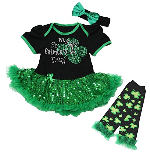 My 1st St Patrick Day Baby Dress Bodysuit Green Sequin Tutu Leg Warmer Nb-18m (0-3 Months) -