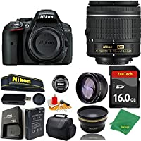 Great Value Bundle for D5300 DSLR – 18-55mm AF-P + 16GB Memory + Wide Angle + Telephoto Lens + Case