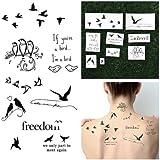 Tattify Tatouages Temporaires Citation - Oiseau Est Le Mot (Set de 18)