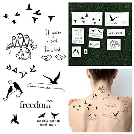 Tatuajes temporales Bird is the Word (18 unidades): Amazon.es: Belleza