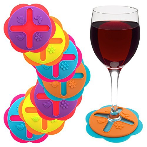 Set of 8 Wine Glasses Drink Coasters Markers Slip-On Stemware Silicone Markers Charms Dining Beverage Accessories