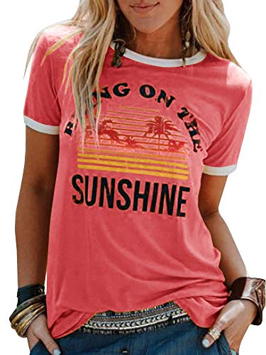 Umeko Womens Bring On The Sunshine Graphic Tees Letter Printed Casual Loose Summer T-Shirt (X-Large, Pink)